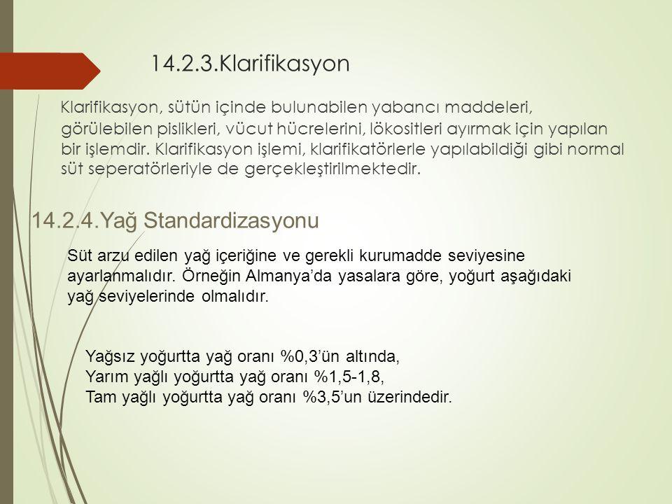 14.2.3.Klarifikasyon Klarifikasyon, sütün içinde bulunabilen yabancı maddeleri, görülebilen pislikleri, vücut hücrelerini, lökositleri ayırmak için ya