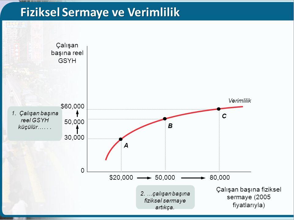 Fiziksel Sermaye ve Verimlilik $60,000 50,000 30,000 0 Çalışan başına reel GSYH $20,000 50,000 80,000 Çalışan başına fiziksel sermaye (2005 fiyatlarıy