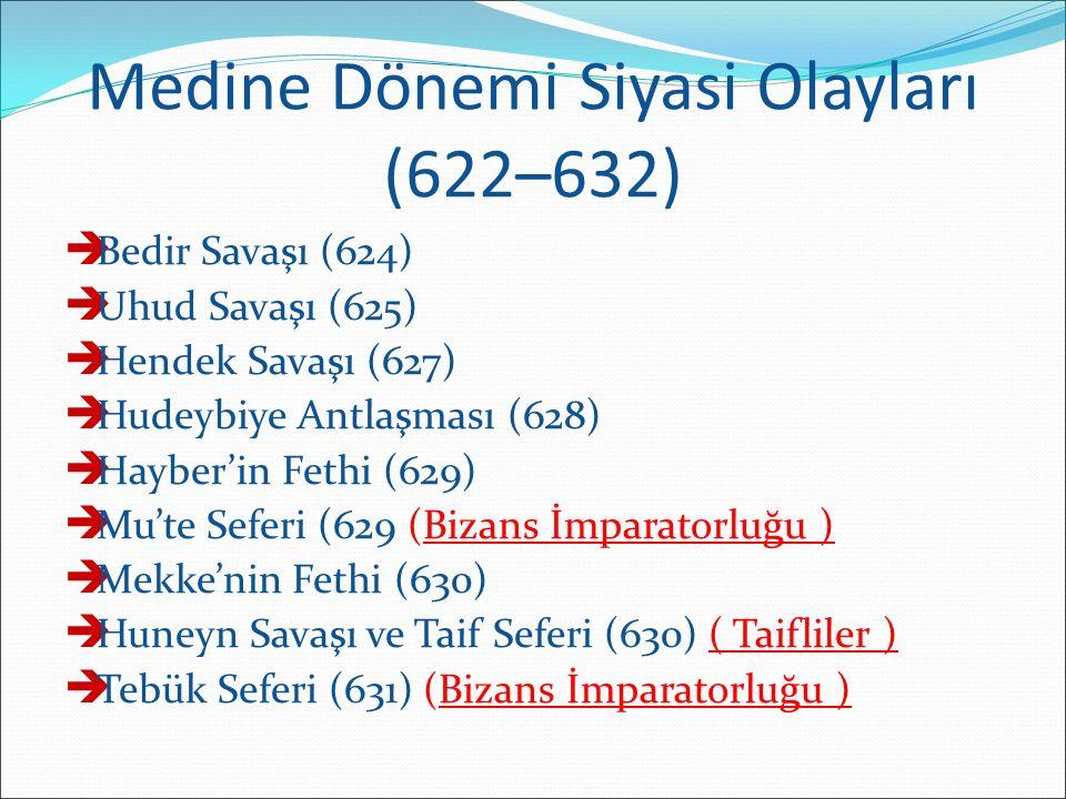 Medine Dönemi Siyasi Olayları (622–632)  Bedir Savaşı (624)  Uhud Savaşı (625)  Hendek Savaşı (627)  Hudeybiye Antlaşması (628)  Hayber'in Fethi (629)  Mu'te Seferi (629 (Bizans İmparatorluğu )  Mekke'nin Fethi (630)  Huneyn Savaşı ve Taif Seferi (630) ( Taifliler )  Tebük Seferi (631) (Bizans İmparatorluğu )