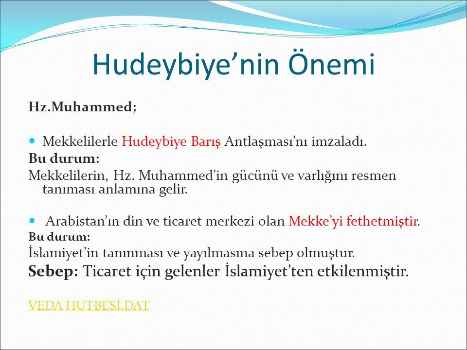 Hudeybiye'nin Önemi Hz.Muhammed; Mekkelilerle Hudeybiye Barış Antlaşması'nı imzaladı. Bu durum: Mekkelilerin, Hz. Muhammed'in gücünü ve varlığını resm
