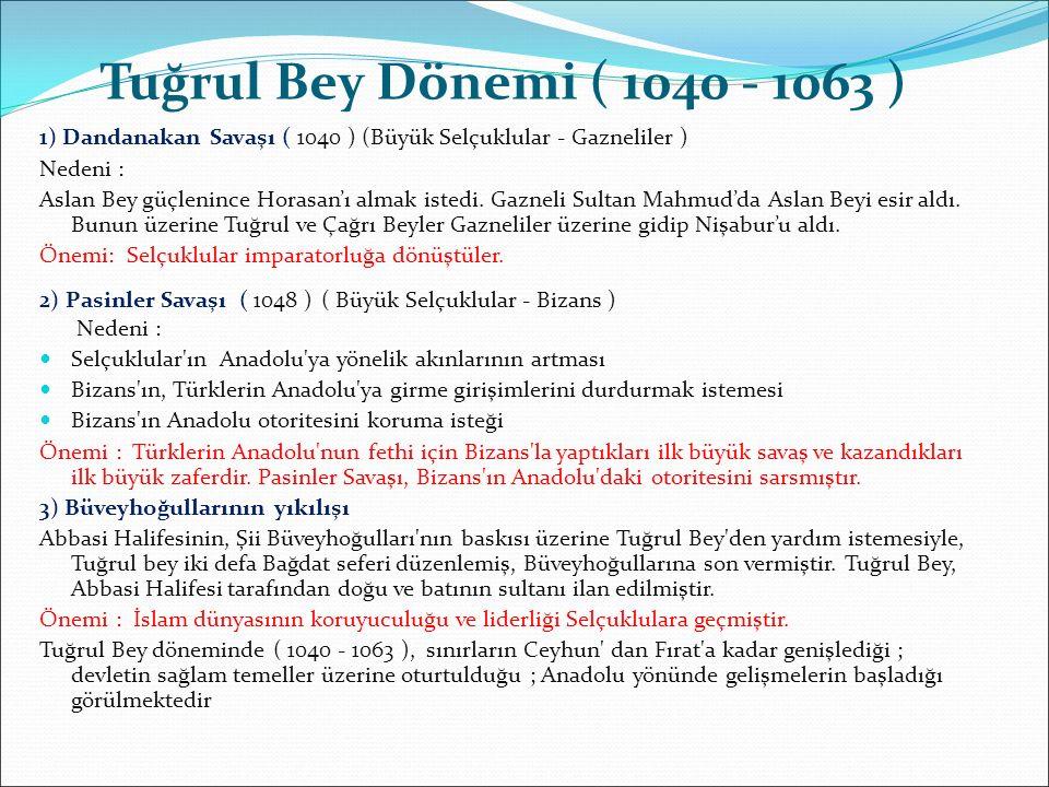 1) Dandanakan Savaşı ( 1040 ) (Büyük Selçuklular - Gazneliler ) Nedeni : Aslan Bey güçlenince Horasan'ı almak istedi. Gazneli Sultan Mahmud'da Aslan B