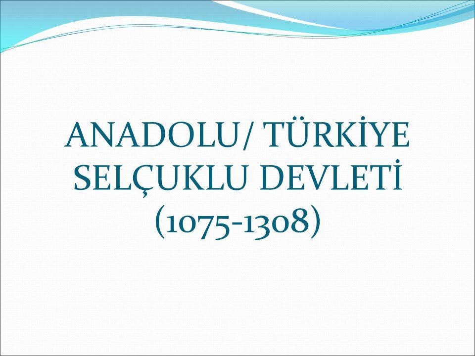 ANADOLU/ TÜRKİYE SELÇUKLU DEVLETİ (1075-1308)
