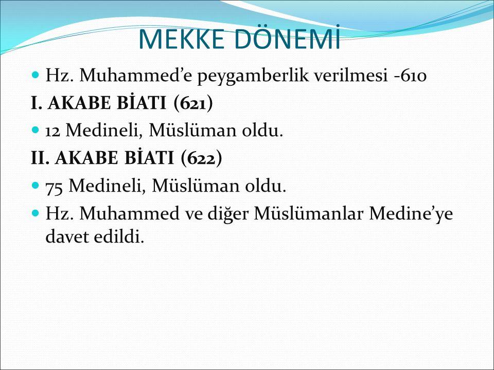 MEKKE DÖNEMİ Hz. Muhammed'e peygamberlik verilmesi -610 I. AKABE BİATI (621) 12 Medineli, Müslüman oldu. II. AKABE BİATI (622) 75 Medineli, Müslüman o
