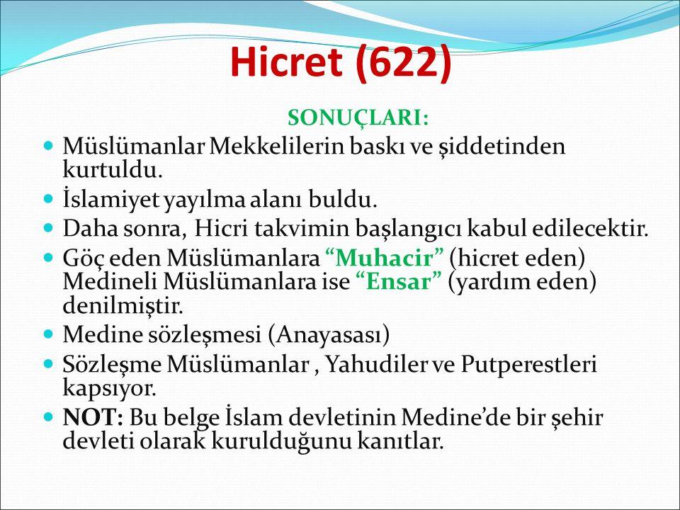 Hicret (622) SONUÇLARI: Müslümanlar Mekkelilerin baskı ve şiddetinden kurtuldu. İslamiyet yayılma alanı buldu. Daha sonra, Hicri takvimin başlangıcı k
