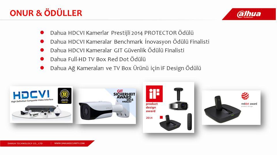 Dahua HDCVI Kamerlar Prestijli 2014 PROTECTOR Ödülü Dahua HDCVI Kameralar Benchmark İnovasyon Ödülü Finalisti Dahua HDCVI Kameralar GIT Güvenlik Ödülü Finalisti Dahua Full-HD TV Box Red Dot Ödülü Dahua Ağ Kameraları ve TV Box Ürünü için iF Design Ödülü ONUR & ÖDÜLLER