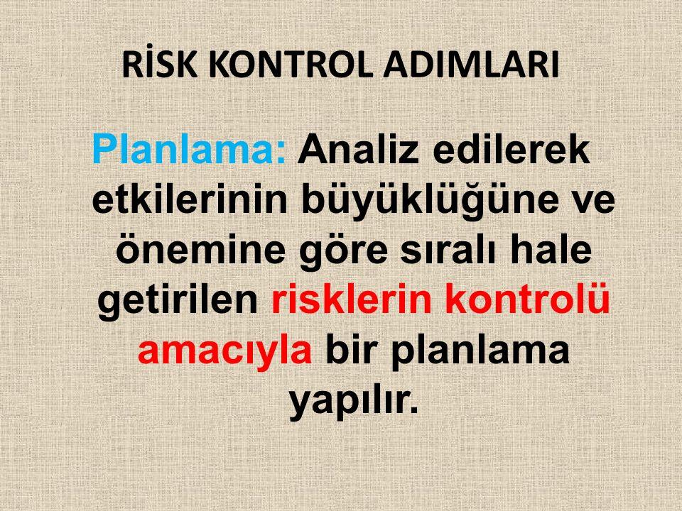 RİSK KONTROL ADIMLARI Planlama: Analiz edilerek etkilerinin büyüklüğüne ve önemine göre sıralı hale getirilen risklerin kontrolü amacıyla bir planlama