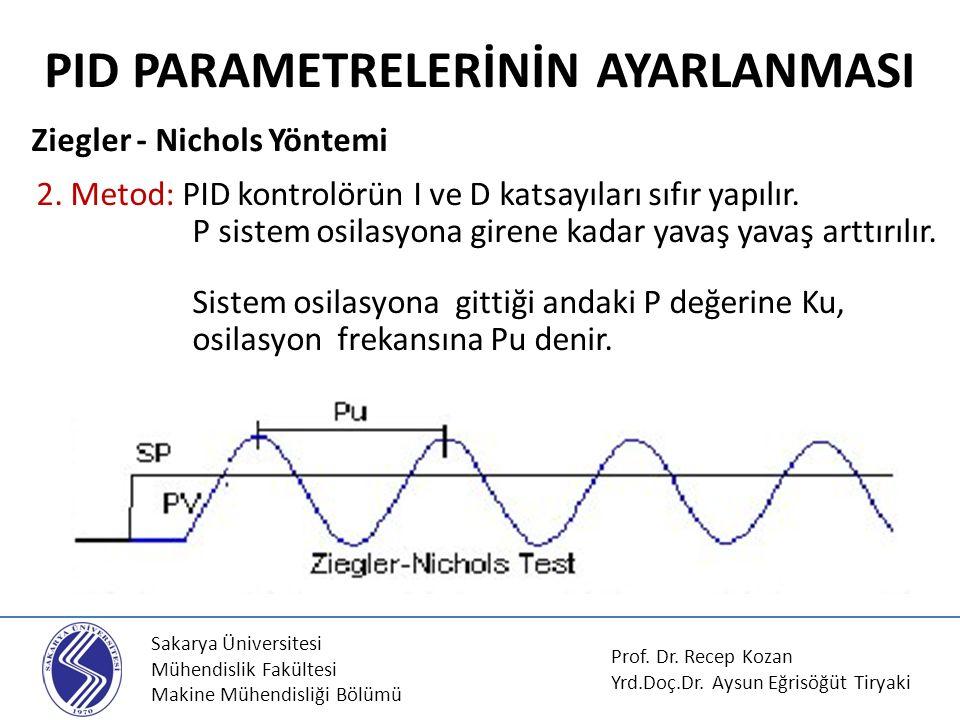 Sakarya Üniversitesi Mühendislik Fakültesi Makine Mühendisliği Bölümü PID PARAMETRELERİNİN AYARLANMASI Ziegler - Nichols Yöntemi 2.