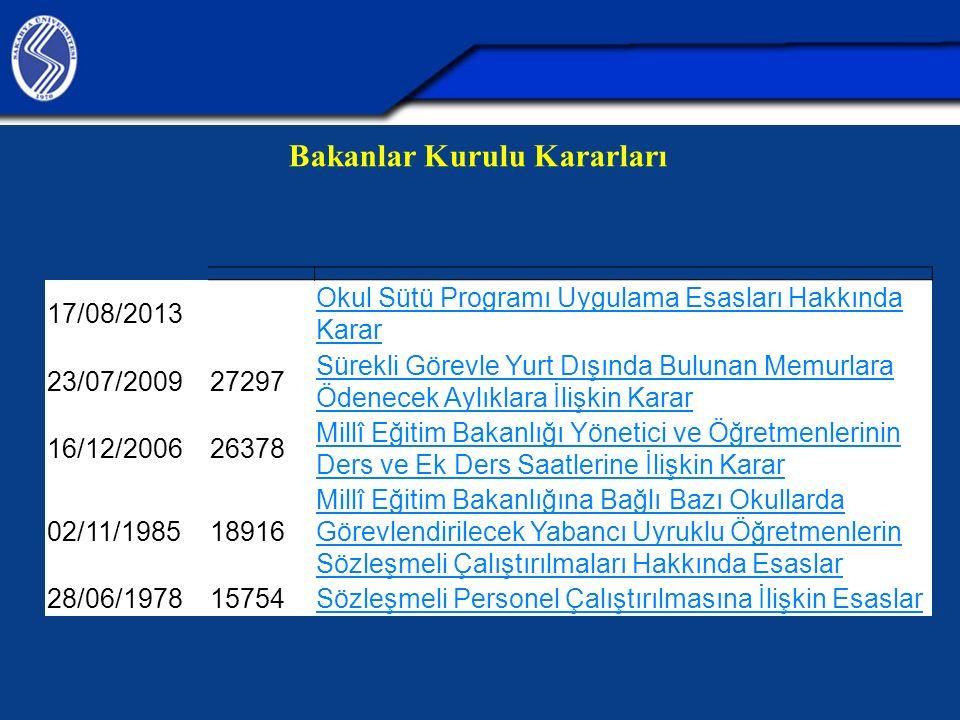 Bakanlar Kurulu Kararları 17/08/2013 Okul Sütü Programı Uygulama Esasları Hakkında Karar 23/07/200927297 Sürekli Görevle Yurt Dışında Bulunan Memurlar