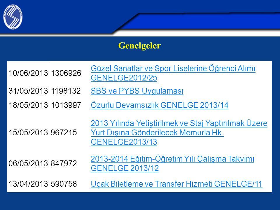 Genelgeler 10/06/20131306926 Güzel Sanatlar ve Spor Liselerine Öğrenci Alımı GENELGE2012/25 31/05/20131198132 SBS ve PYBS Uygulaması 18/05/20131013997