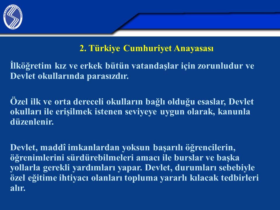 2. Türkiye Cumhuriyet Anayasası İlköğretim kız ve erkek bütün vatandaşlar için zorunludur ve Devlet okullarında parasızdır. Özel ilk ve orta dereceli