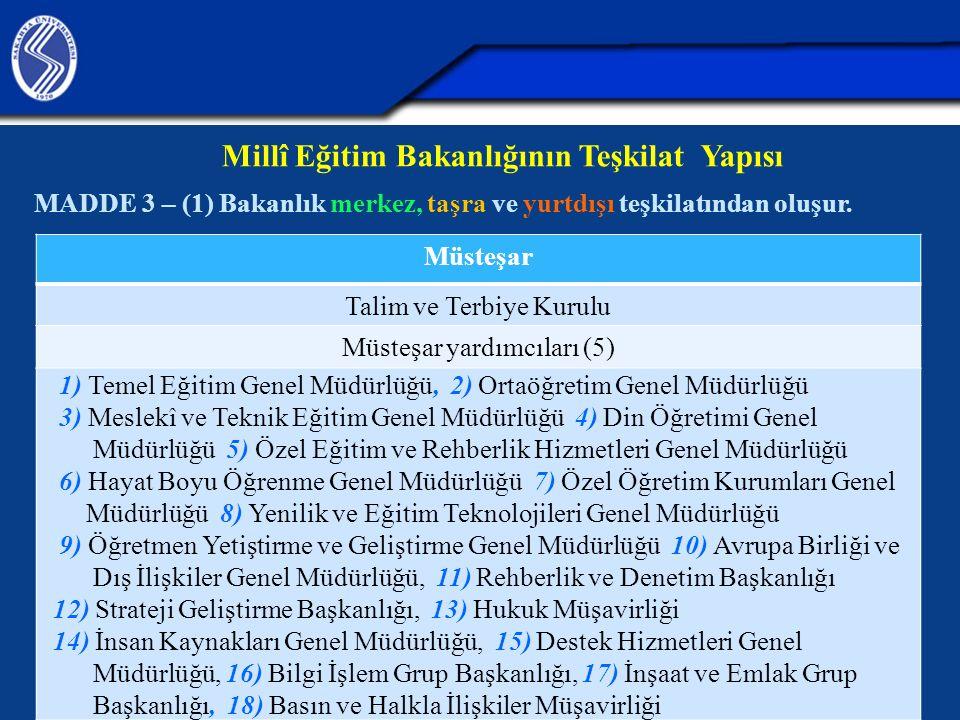 Millî Eğitim Bakanlığının Teşkilat Yapısı MADDE 3 – (1) Bakanlık merkez, taşra ve yurtdışı teşkilatından oluşur. Müsteşar Talim ve Terbiye Kurulu Müst
