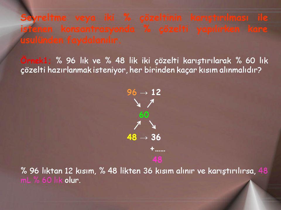 Seyreltme veya iki % çözeltinin karıştırılması ile istenen konsantrasyonda % çözelti yapılırken kare usulünden faydalanılır.