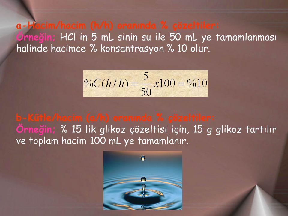 a-Hacim/hacim (h/h) oranında % çözeltiler: Örneğin; HCl in 5 mL sinin su ile 50 mL ye tamamlanması halinde hacimce % konsantrasyon % 10 olur.