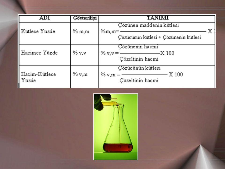Örnek2; % 96 lık bir çözeltiye su karıştırılarak %25 lik çözelti hazırlanmak isteniyor.