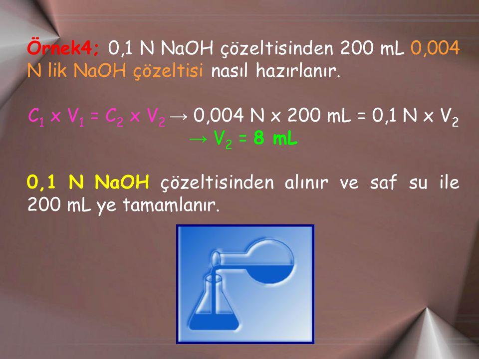 Örnek4; 0,1 N NaOH çözeltisinden 200 mL 0,004 N lik NaOH çözeltisi nasıl hazırlanır.