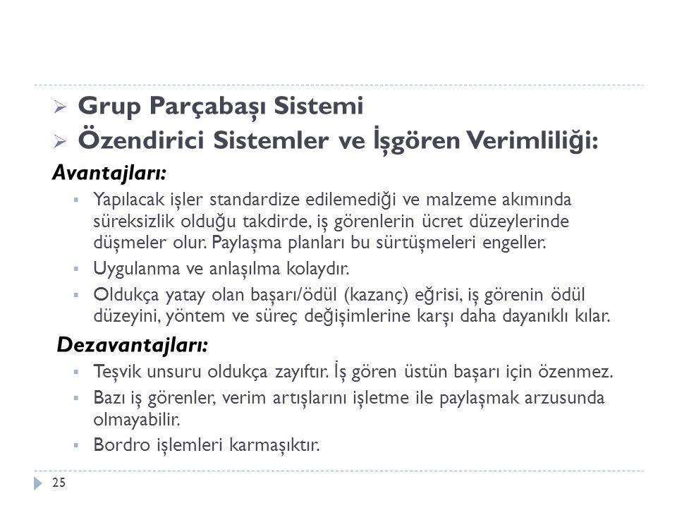  Grup Parçabaşı Sistemi  Özendirici Sistemler ve İ şgören Verimlili ğ i: Avantajları:  Yapılacak işler standardize edilemedi ğ i ve malzeme akımınd