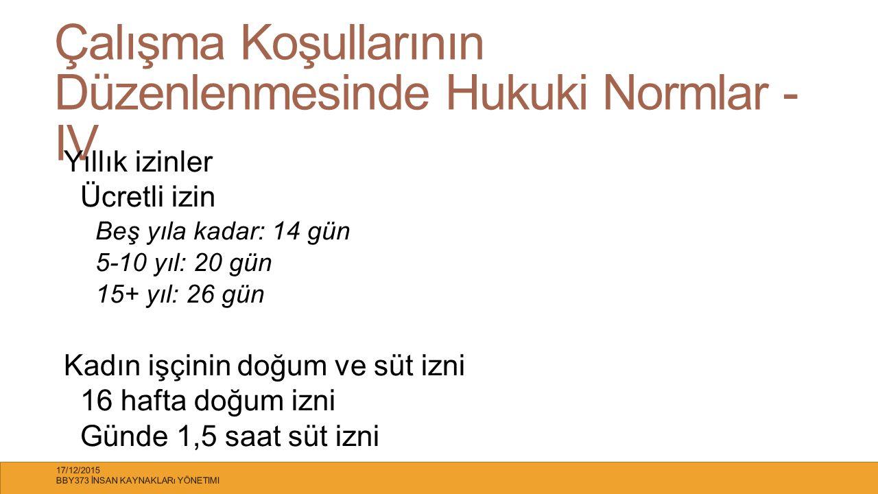 Çalışma Koşullarının Düzenlenmesinde Hukuki Normlar - IV Yıllık izinler Ücretli izin Beş yıla kadar: 14 gün 5-10 yıl: 20 gün 15+ yıl: 26 gün Kadın işç
