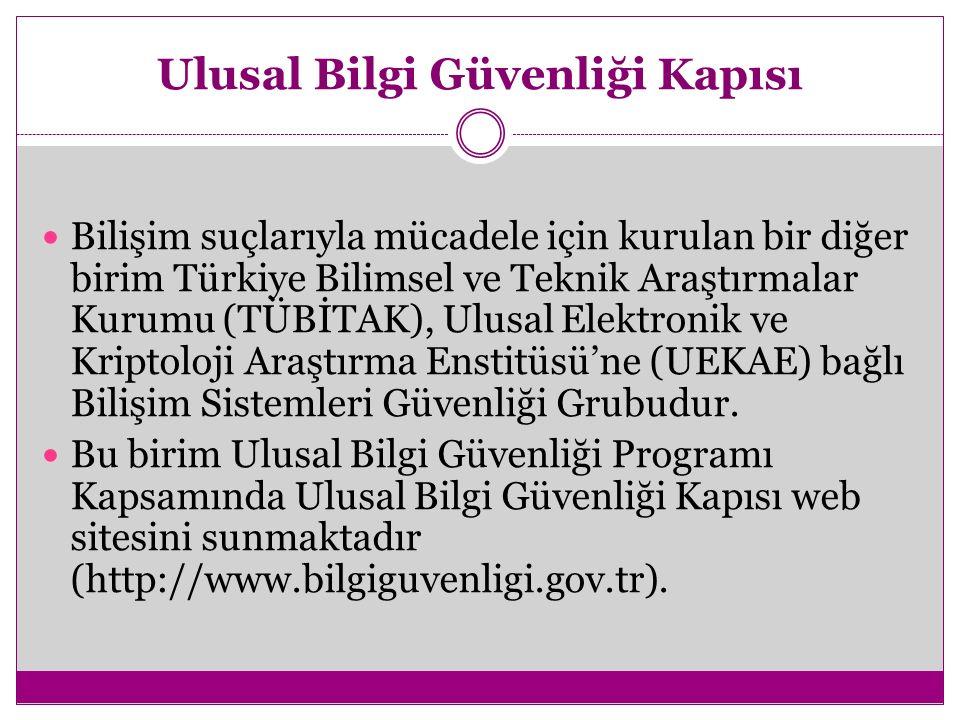 Ulusal Bilgi Güvenliği Kapısı Bilişim suçlarıyla mücadele için kurulan bir diğer birim Türkiye Bilimsel ve Teknik Araştırmalar Kurumu (TÜBİTAK), Ulusal Elektronik ve Kriptoloji Araştırma Enstitüsü'ne (UEKAE) bağlı Bilişim Sistemleri Güvenliği Grubudur.