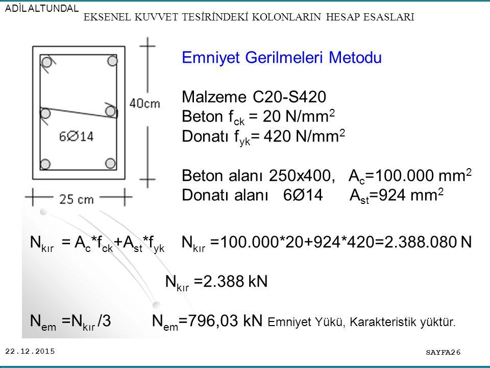 22.12.2015 SAYFA26 ADİL ALTUNDAL EKSENEL KUVVET TESİRİNDEKİ KOLONLARIN HESAP ESASLARI Emniyet Gerilmeleri Metodu Malzeme C20-S420 Beton f ck = 20 N/mm