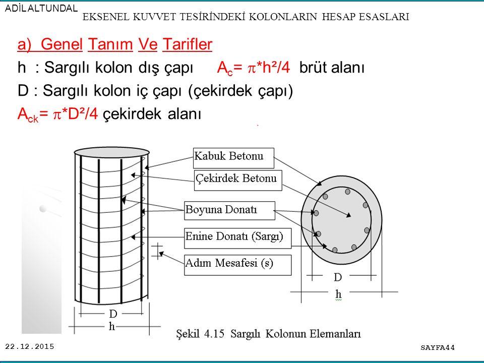 22.12.2015 a) Genel Tanım Ve Tarifler h : Sargılı kolon dış çapı A c =  *h²/4 brüt alanı D : Sargılı kolon iç çapı (çekirdek çapı) A ck =  *D²/4 çek