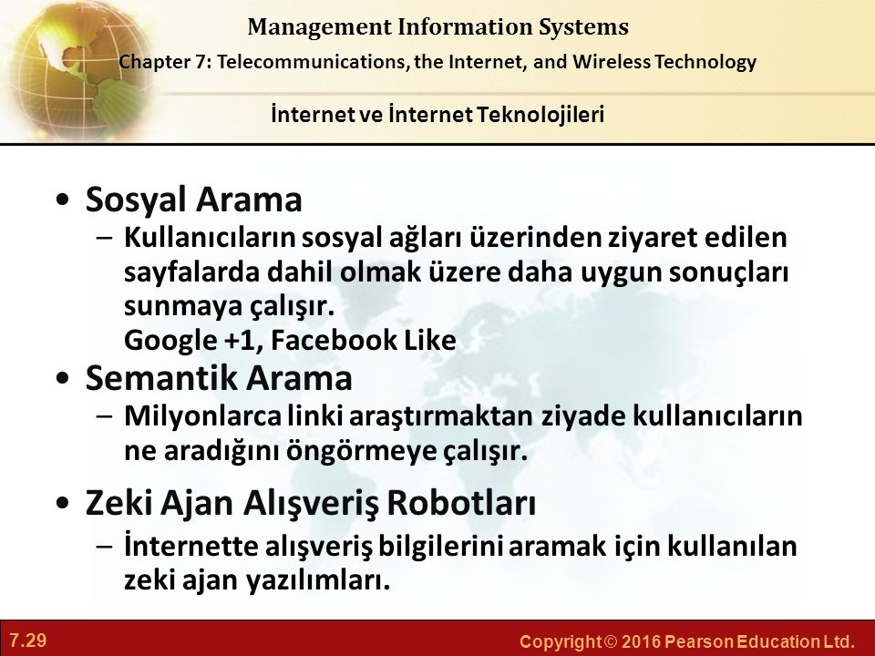 7.29 Copyright © 2016 Pearson Education Ltd. Management Information Systems Chapter 7: Telecommunications, the Internet, and Wireless Technology Sosya