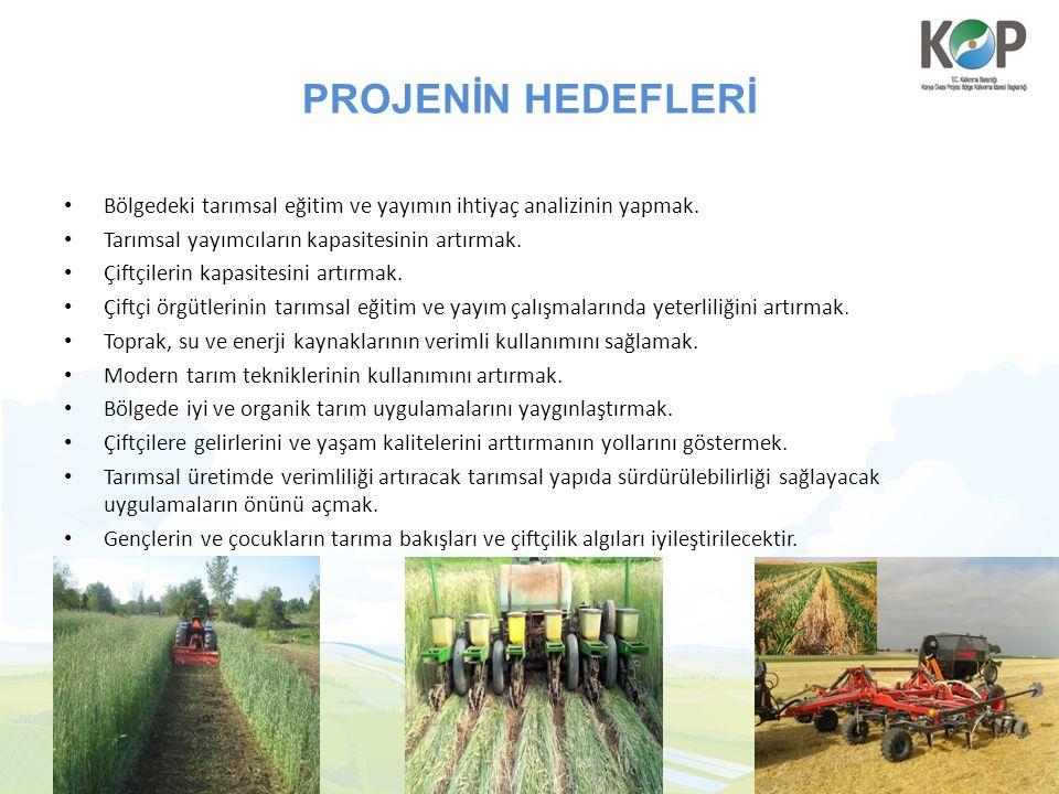 PROJENİN HEDEFLERİ Bölgedeki tarımsal eğitim ve yayımın ihtiyaç analizinin yapmak. Tarımsal yayımcıların kapasitesinin artırmak. Çiftçilerin kapasites