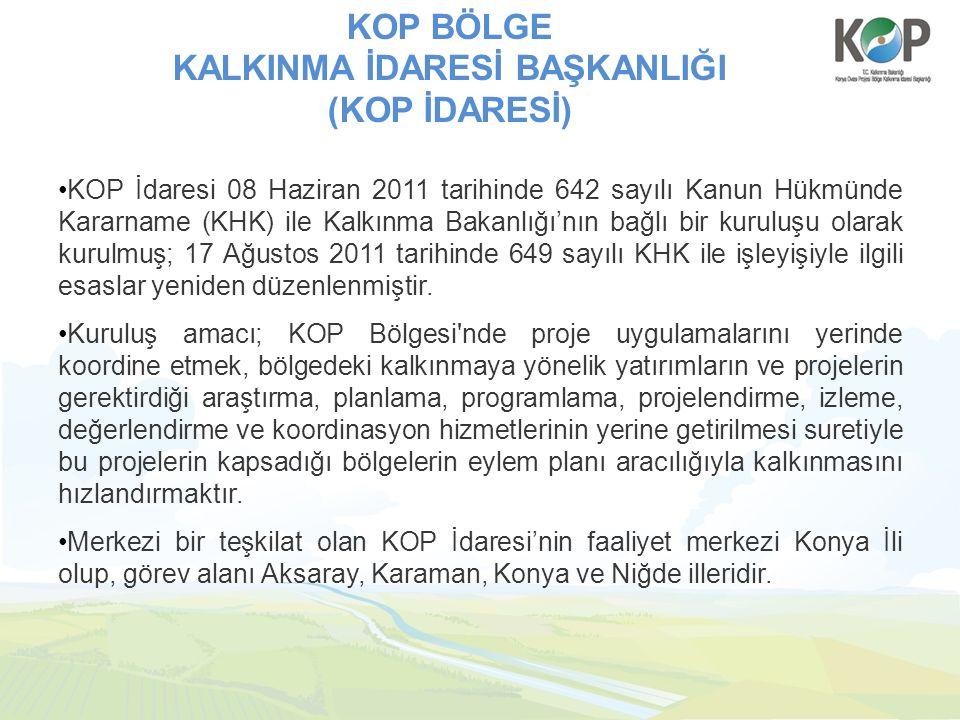 KOP BÖLGE KALKINMA İDARESİ BAŞKANLIĞI (KOP İDARESİ) KOP İdaresi 08 Haziran 2011 tarihinde 642 sayılı Kanun Hükmünde Kararname (KHK) ile Kalkınma Bakan
