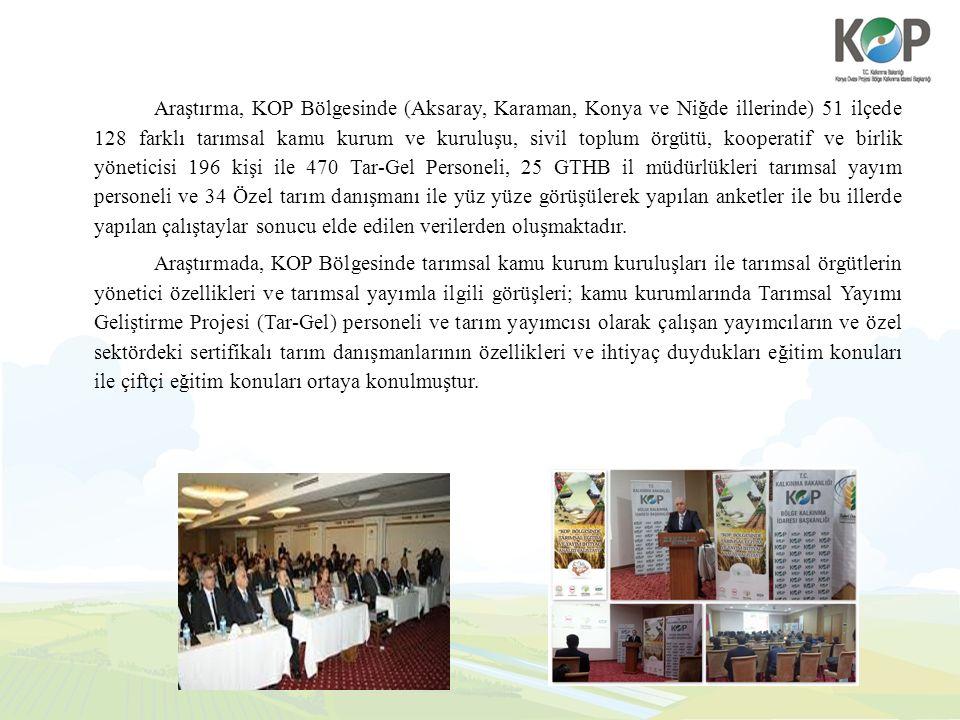 Araştırma, KOP Bölgesinde (Aksaray, Karaman, Konya ve Niğde illerinde) 51 ilçede 128 farklı tarımsal kamu kurum ve kuruluşu, sivil toplum örgütü, koop