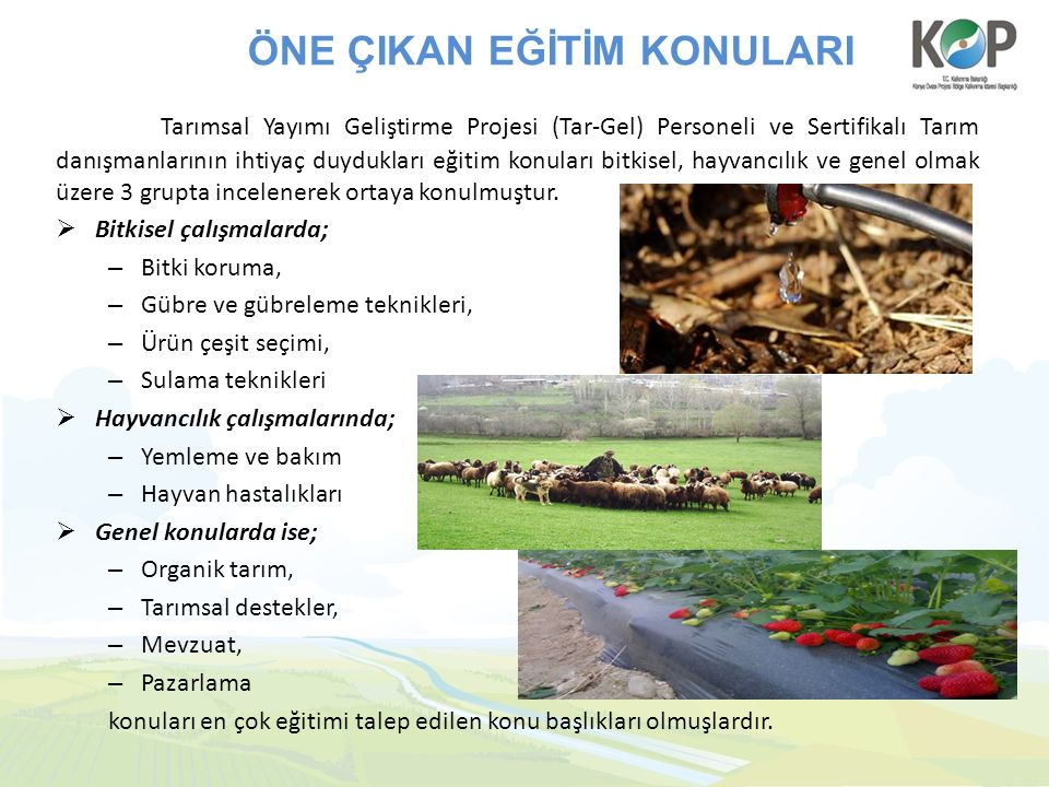 ÖNE ÇIKAN EĞİTİM KONULARI Tarımsal Yayımı Geliştirme Projesi (Tar-Gel) Personeli ve Sertifikalı Tarım danışmanlarının ihtiyaç duydukları eğitim konuları bitkisel, hayvancılık ve genel olmak üzere 3 grupta incelenerek ortaya konulmuştur.