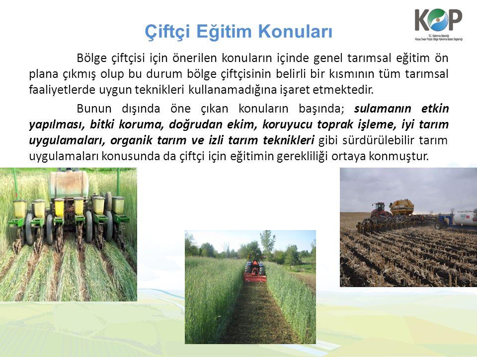 Çiftçi Eğitim Konuları Bölge çiftçisi için önerilen konuların içinde genel tarımsal eğitim ön plana çıkmış olup bu durum bölge çiftçisinin belirli bir