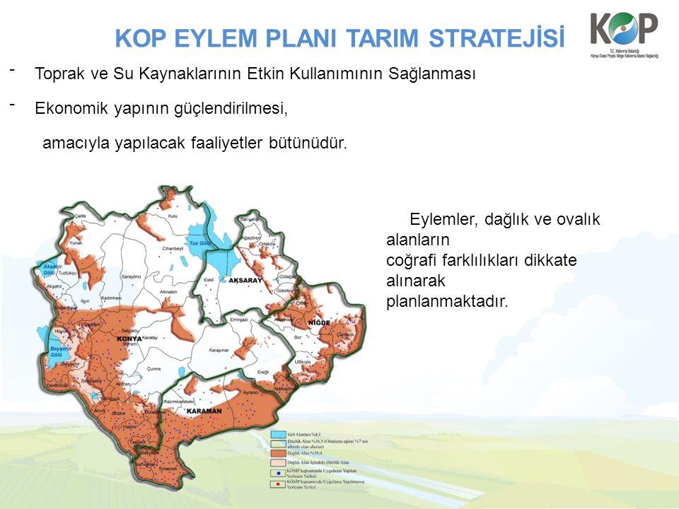 KOP EYLEM PLANI TARIM STRATEJİSİ ⁻ Toprak ve Su Kaynaklarının Etkin Kullanımının Sağlanması ⁻ Ekonomik yapının güçlendirilmesi, amacıyla yapılacak faa