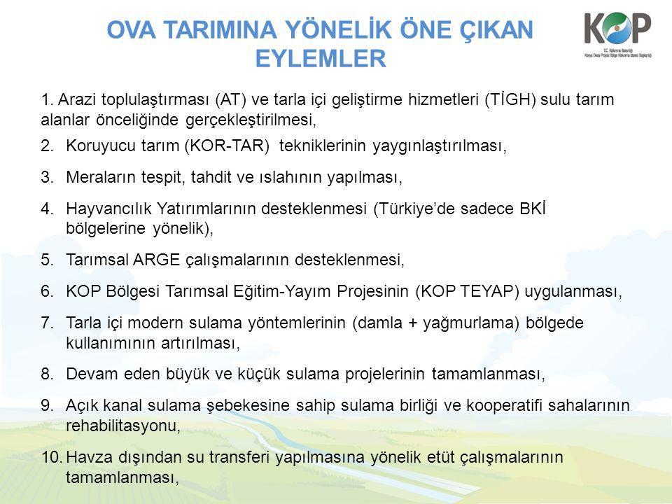 OVA TARIMINA YÖNELİK ÖNE ÇIKAN EYLEMLER 1.