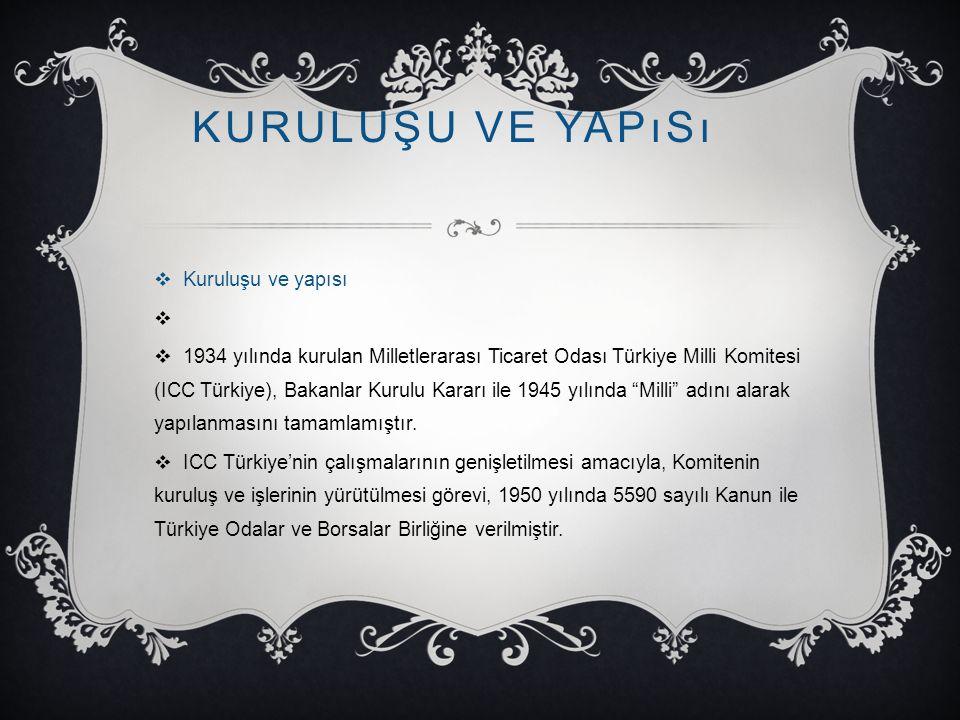 KURULUŞU VE YAPıSı  Kuruluşu ve yapısı   1934 yılında kurulan Milletlerarası Ticaret Odası Türkiye Milli Komitesi (ICC Türkiye), Bakanlar Kurulu Ka