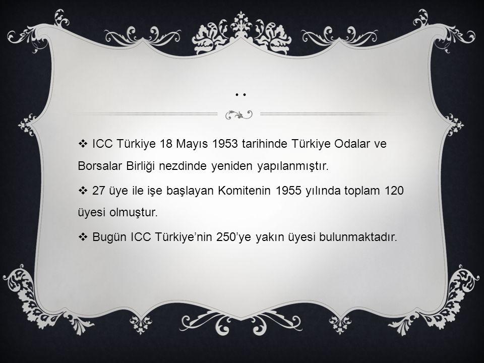 ..  ICC Türkiye 18 Mayıs 1953 tarihinde Türkiye Odalar ve Borsalar Birliği nezdinde yeniden yapılanmıştır.  27 üye ile işe başlayan Komitenin 1955 y