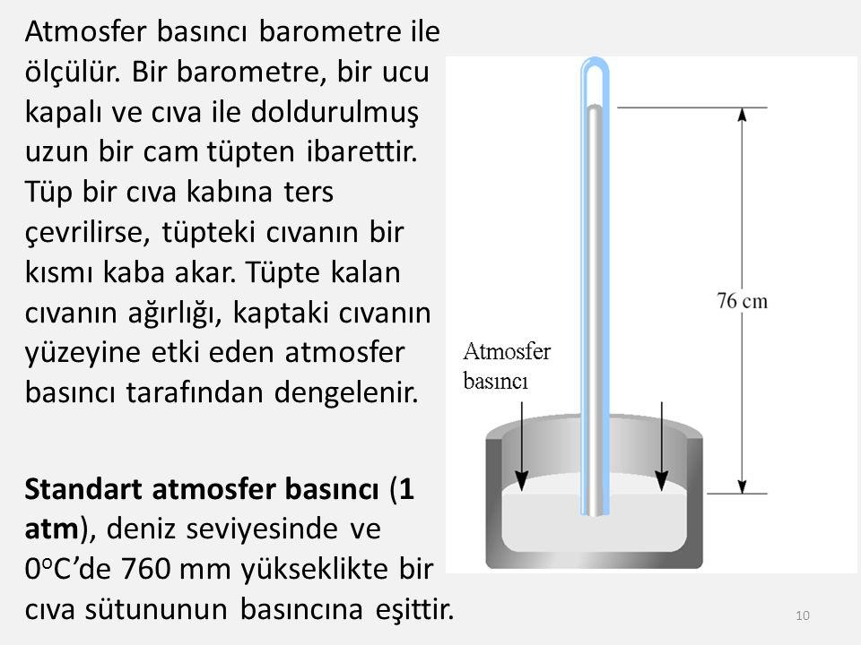 Atmosfer basıncı barometre ile ölçülür. Bir barometre, bir ucu kapalı ve cıva ile doldurulmuş uzun bir cam tüpten ibarettir. Tüp bir cıva kabına ters