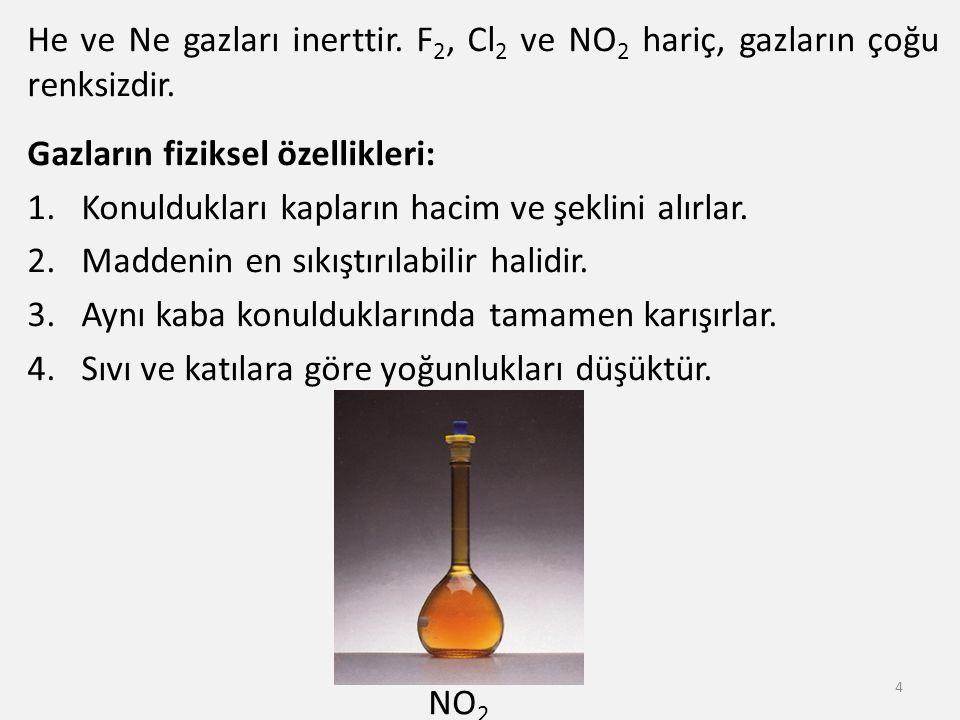 He ve Ne gazları inerttir. F 2, Cl 2 ve NO 2 hariç, gazların çoğu renksizdir. Gazların fiziksel özellikleri: 1.Konuldukları kapların hacim ve şeklini