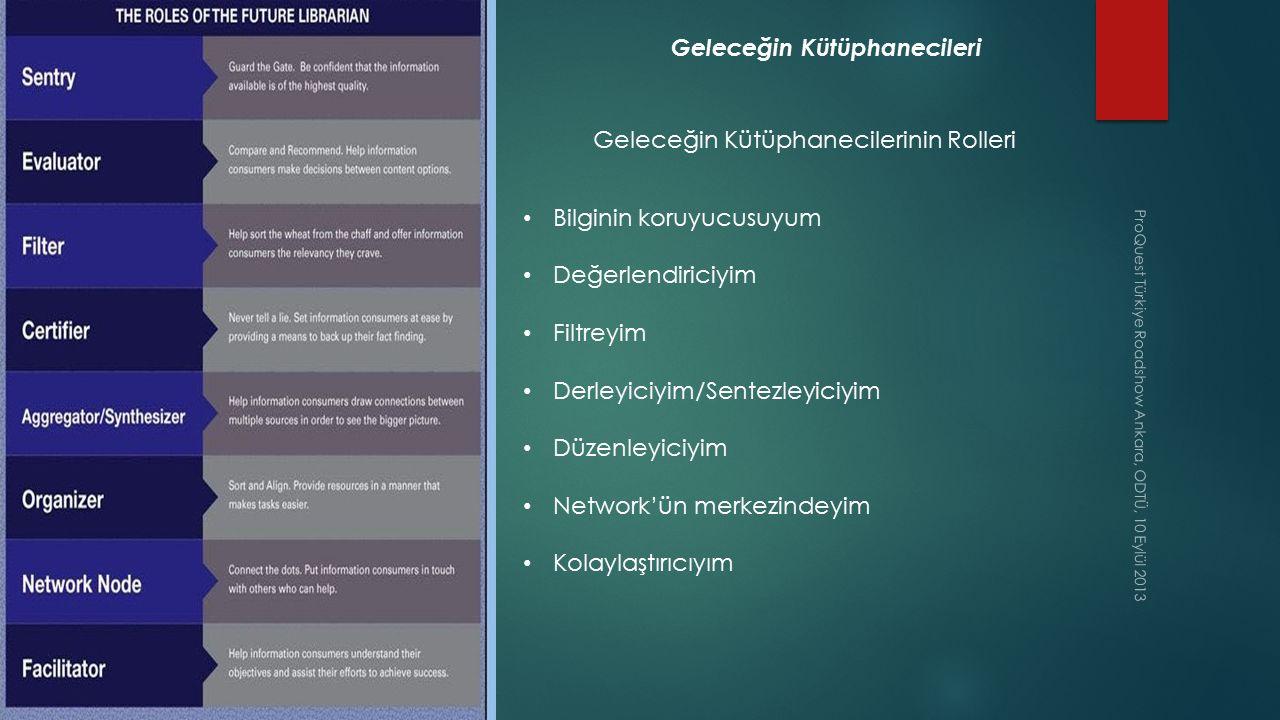 ProQuest Türkiye Roadshow Ankara, ODTÜ, 10 Eylül 2013 Geleceğin Kütüphanecileri Geleceğin Kütüphanecilerinin Rolleri Bilginin koruyucusuyum Değerlendi