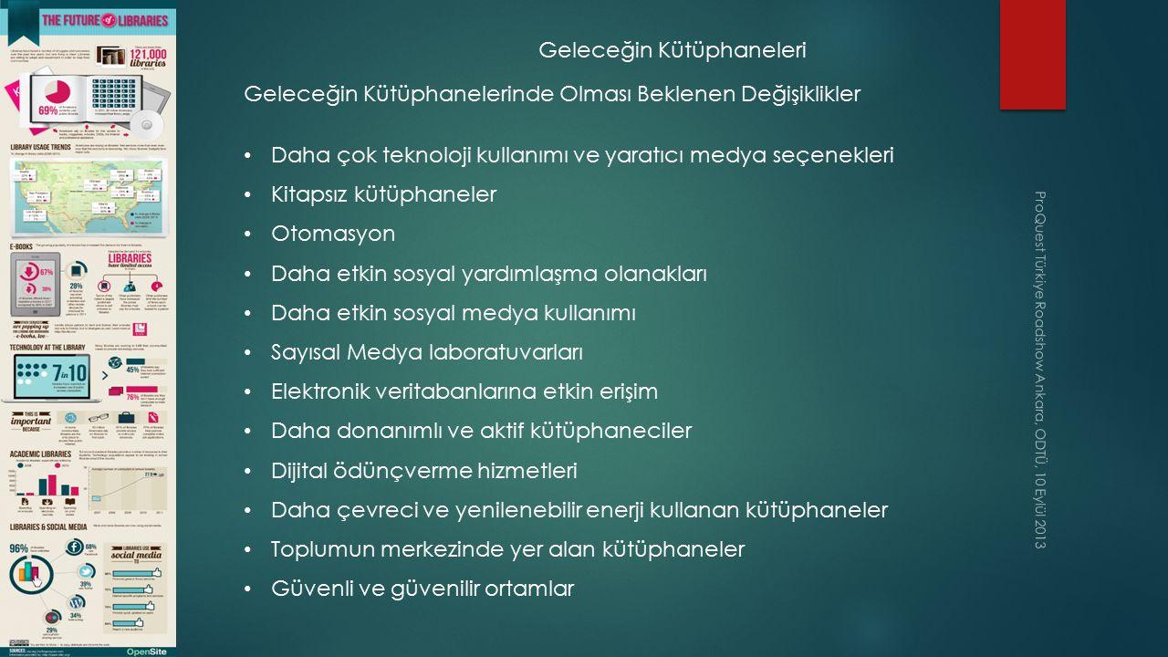 ProQuest Türkiye Roadshow Ankara, ODTÜ, 10 Eylül 2013 Geleceğin Kütüphaneleri Geleceğin Kütüphanelerinde Olması Beklenen Değişiklikler Daha çok teknol