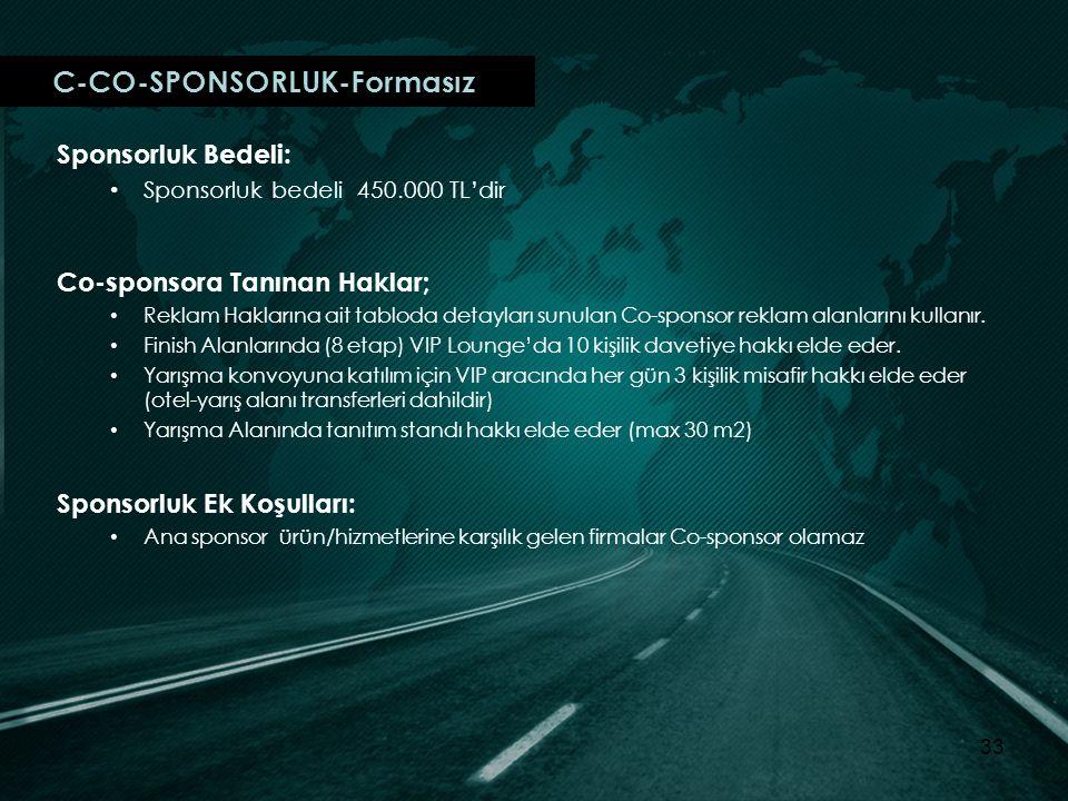 C-CO-SPONSORLUK-Formasız Sponsorluk Bedeli: Sponsorluk bedeli 450.000 TL'dir Co-sponsora Tanınan Haklar; Reklam Haklarına ait tabloda detayları sunulan Co-sponsor reklam alanlarını kullanır.