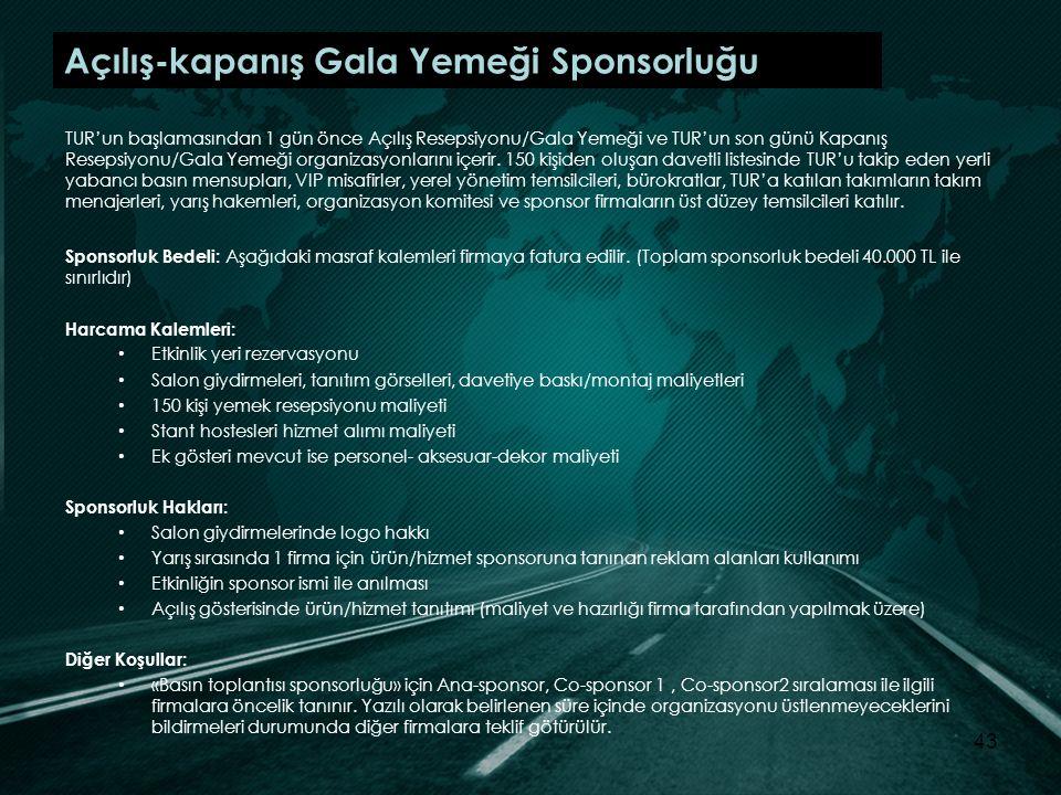 Açılış-kapanış Gala Yemeği Sponsorluğu TUR'un başlamasından 1 gün önce Açılış Resepsiyonu/Gala Yemeği ve TUR'un son günü Kapanış Resepsiyonu/Gala Yemeği organizasyonlarını içerir.