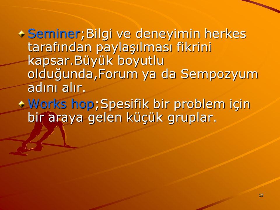 12 Seminer;Bilgi ve deneyimin herkes tarafından paylaşılması fikrini kapsar.Büyük boyutlu olduğunda,Forum ya da Sempozyum adını alır. Works hop;Spesif