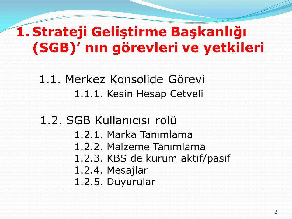 2 1.Strateji Geliştirme Başkanlığı (SGB)' nın görevleri ve yetkileri 1.1. Merkez Konsolide Görevi 1.1.1. Kesin Hesap Cetveli 1.2. SGB Kullanıcısı rolü