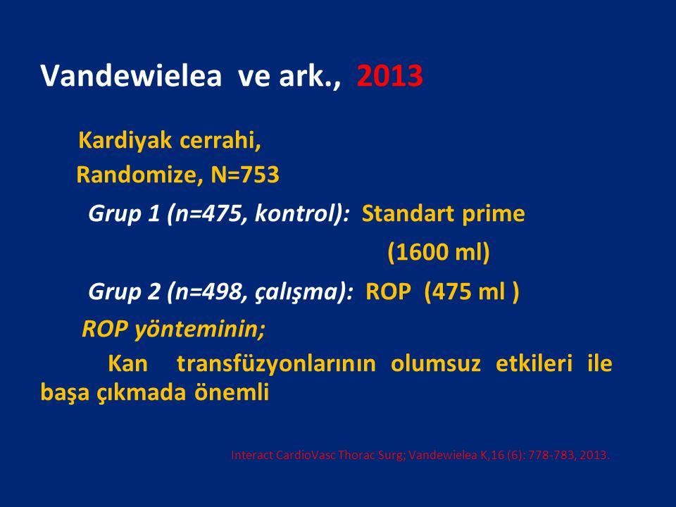 Vandewielea ve ark., 2013 Kardiyak cerrahi, Randomize, N=753 Grup 1 (n=475, kontrol): Standart prime (1600 ml) Grup 2 (n=498, çalışma): ROP (475 ml )
