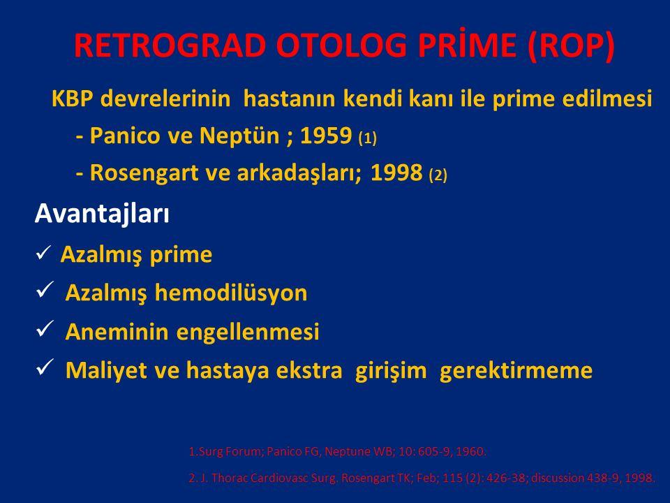 RETROGRAD OTOLOG PRİME (ROP) KBP devrelerinin hastanın kendi kanı ile prime edilmesi - Panico ve Neptün ; 1959 (1) - Rosengart ve arkadaşları; 1998 (2) Avantajları Azalmış prime Azalmış hemodilüsyon Aneminin engellenmesi Maliyet ve hastaya ekstra girişim gerektirmeme 1.Surg Forum; Panico FG, Neptune WB; 10: 605-9, 1960.