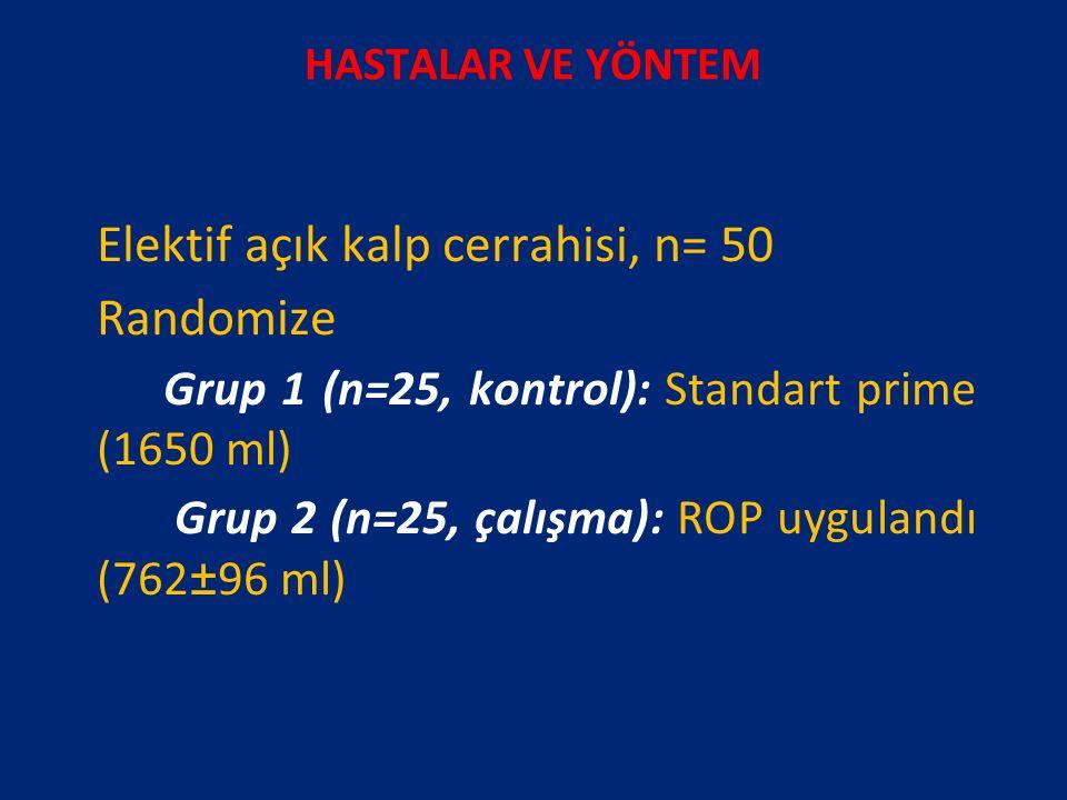HASTALAR VE YÖNTEM Elektif açık kalp cerrahisi, n= 50 Randomize Grup 1 (n=25, kontrol): Standart prime (1650 ml) Grup 2 (n=25, çalışma): ROP uygulandı (762±96 ml)