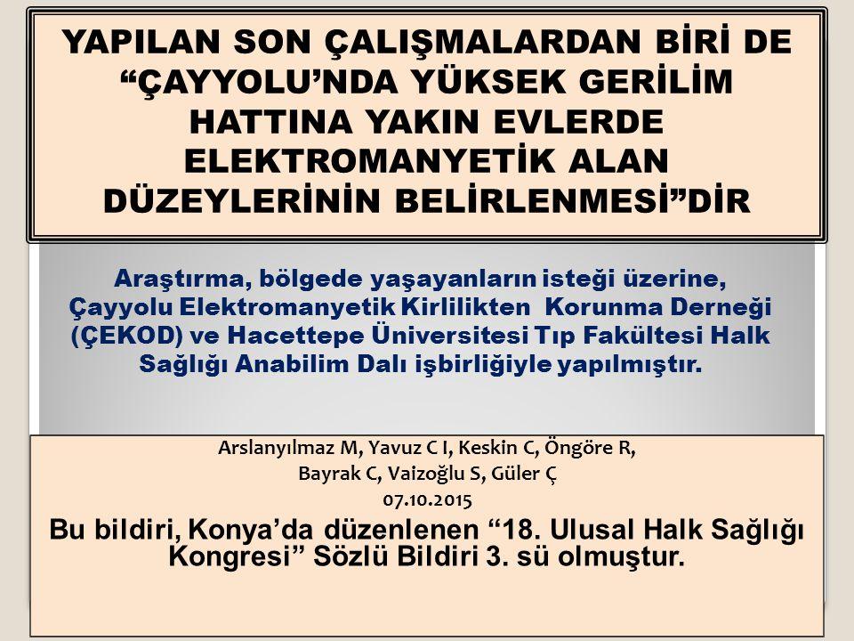 """Arslanyılmaz M, Yavuz C I, Keskin C, Öngöre R, Bayrak C, Vaizoğlu S, Güler Ç 07.10.2015 Bu bildiri, Konya'da düzenlenen """"18. Ulusal Halk Sağlığı Kongr"""
