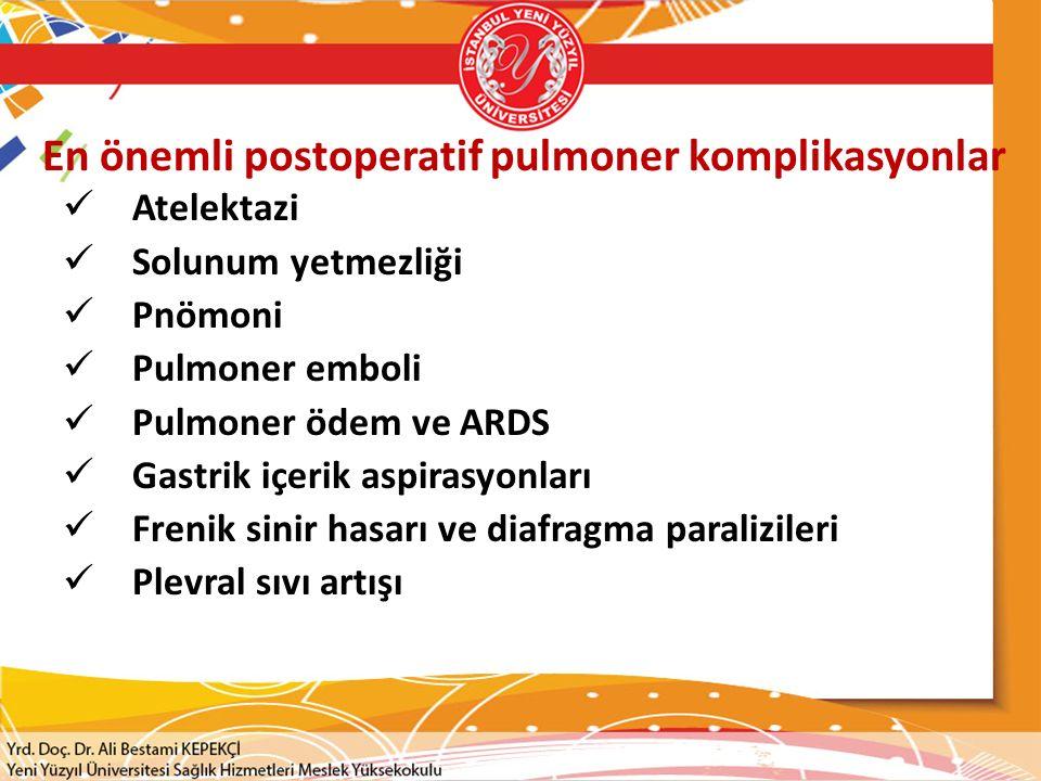 En önemli postoperatif pulmoner komplikasyonlar Atelektazi Solunum yetmezliği Pnömoni Pulmoner emboli Pulmoner ödem ve ARDS Gastrik içerik aspirasyonları Frenik sinir hasarı ve diafragma paralizileri Plevral sıvı artışı