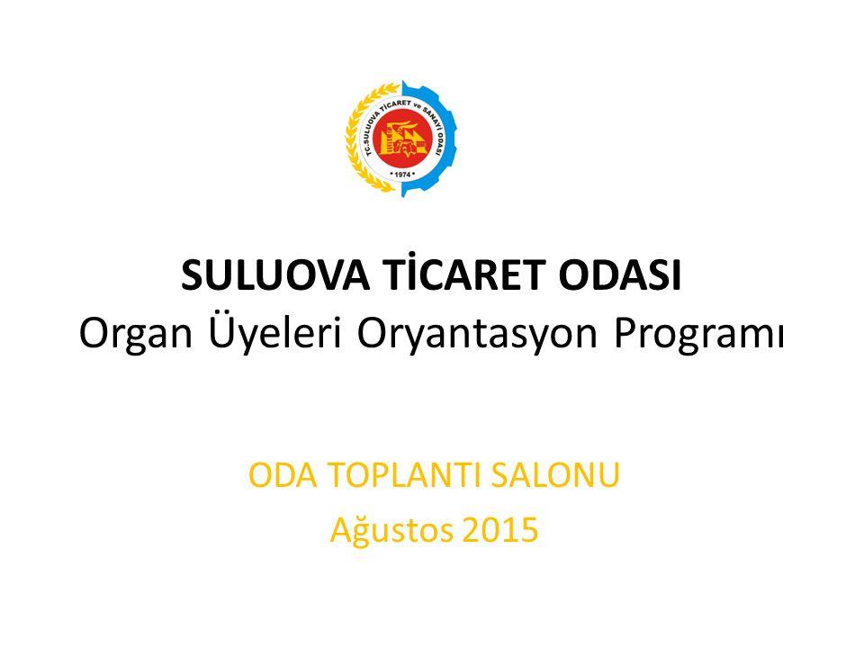 SULUOVA TİCARET ODASI Organ Üyeleri Oryantasyon Programı ODA TOPLANTI SALONU Ağustos 2015