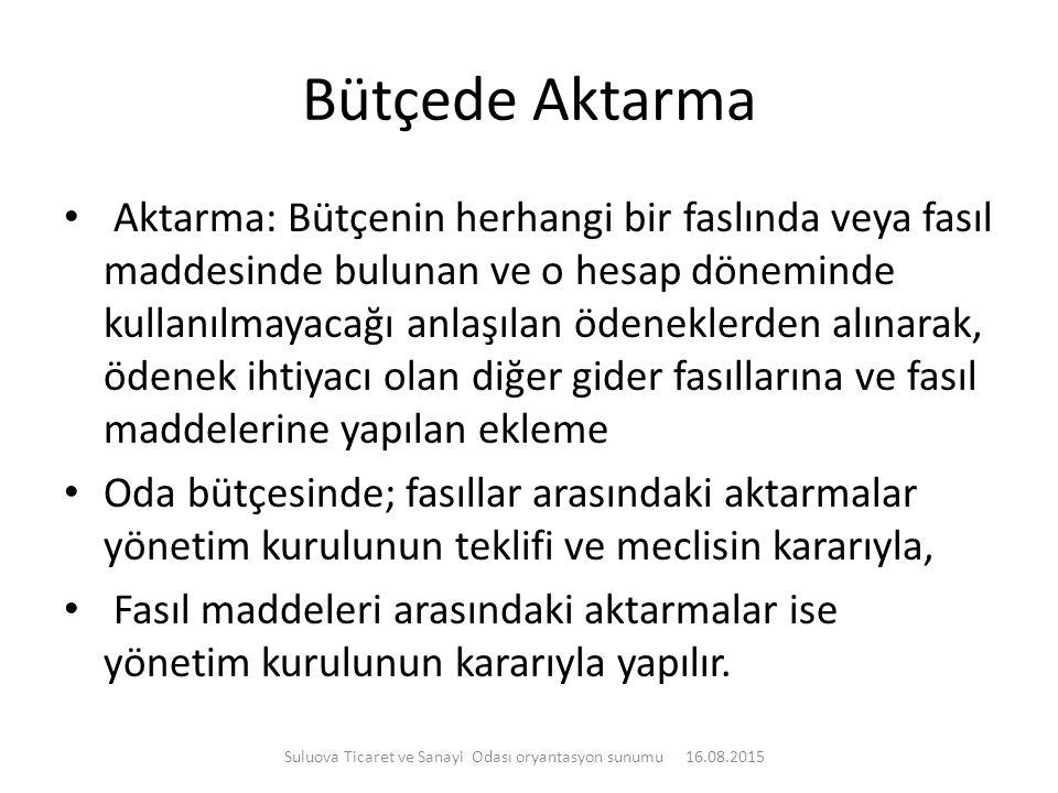 Bütçede Aktarma Aktarma: Bütçenin herhangi bir faslında veya fasıl maddesinde bulunan ve o hesap döneminde kullanılmayacağı anlaşılan ödeneklerden alı