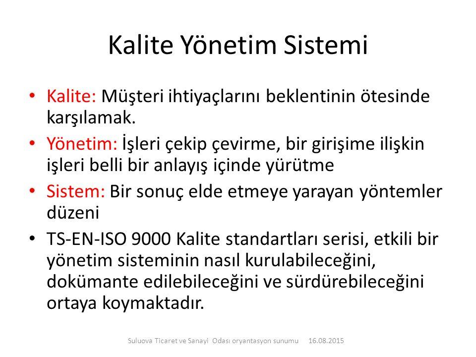 Kalite Yönetim Sistemi Kalite: Müşteri ihtiyaçlarını beklentinin ötesinde karşılamak. Yönetim: İşleri çekip çevirme, bir girişime ilişkin işleri belli
